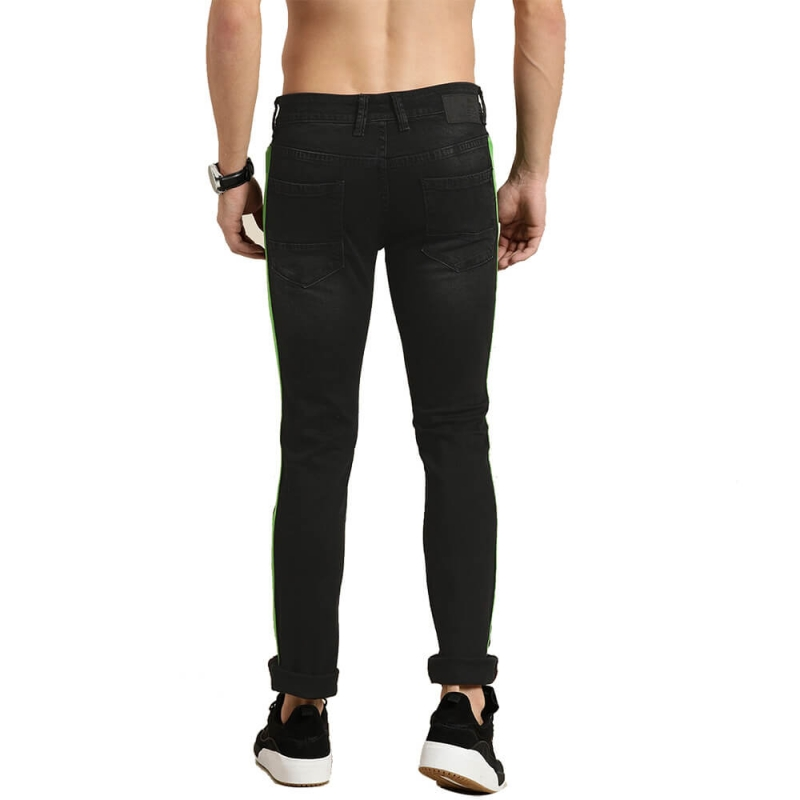 SP03 Latest Design Black Skinny Ripped Hole Jeans For Men With Stripe