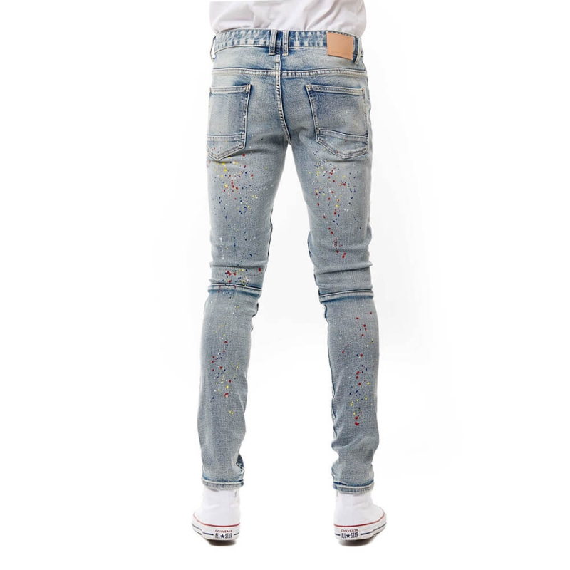 SP-09 Wholesale Good Quality Light Blue Ripped Spray Paint Jeans For Men